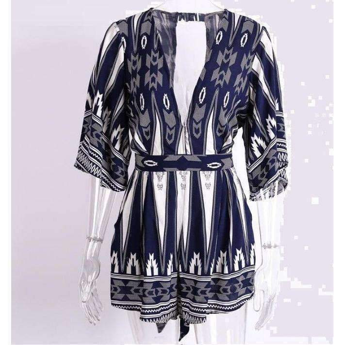 Blue Deep V-Neck Geometric Print Women Romper