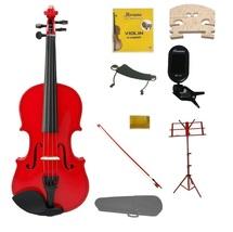 1/4 Red Violin,Case,Red Bow+Rosin+2 Bridges+Tuner+Shoulder Rest+Red Stand - $79.99