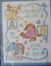 "Janlynn Sleepy Bunnies Birth Record Counted Cross Stitch Kit 11 X 14"" New !!! - $10.55"