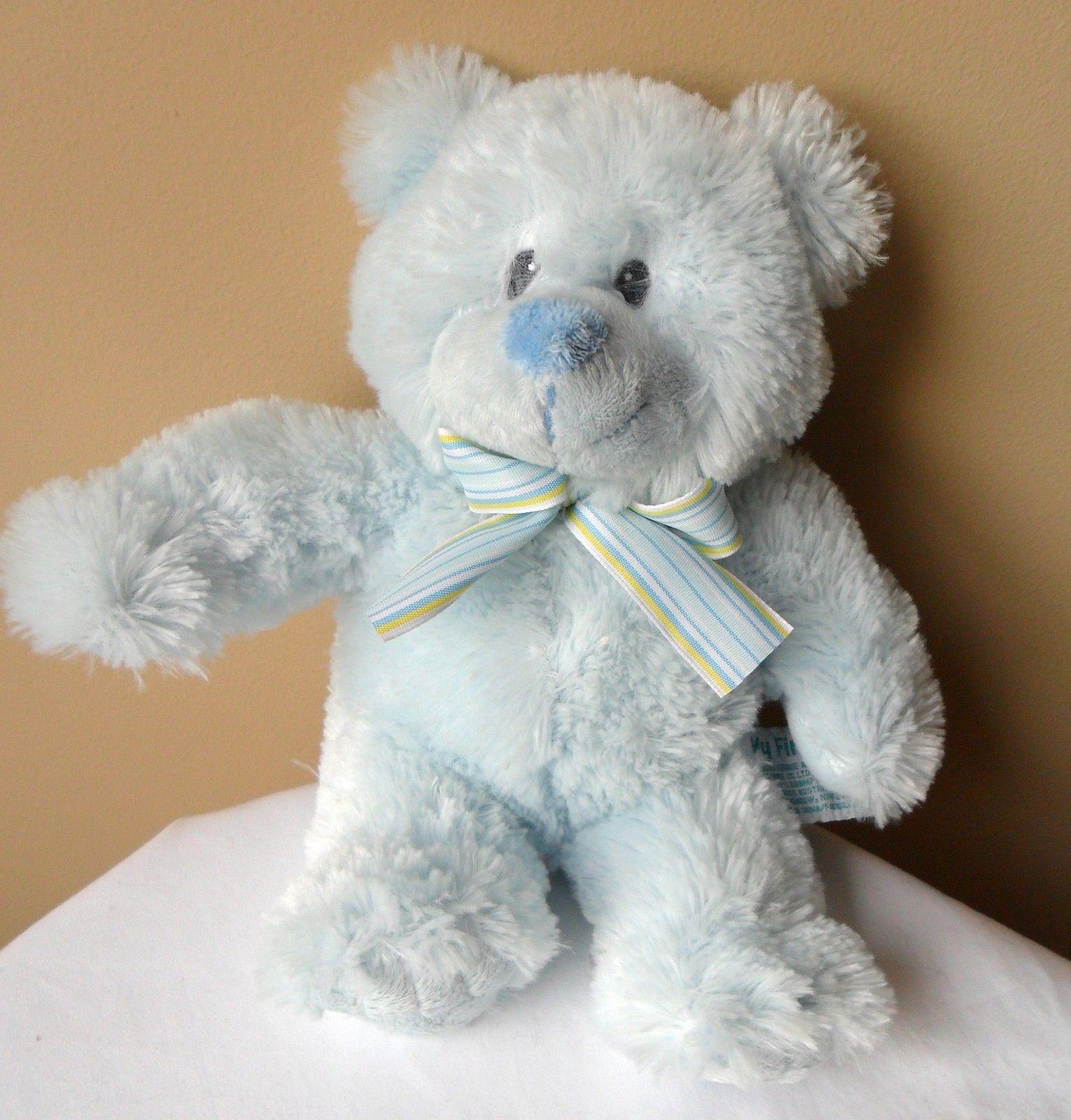 "RUSS Baby MY FIRST TEDDY Blue Bear Stuffed Plush Baby Toy 16"" Long - $9.38"