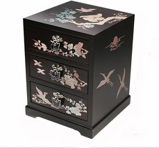 Mother of Pearl Jewelry Box Jewel Organizer 3 Drawers Ume Flowers designs - €64,30 EUR