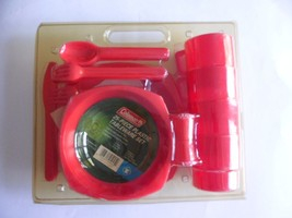 Coleman 25 Piece Plastic Tableware Set Camping Red New - $17.21