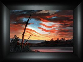 Flying Free By Todd Thunstedt 18x24 Patriotic US American Flag Sky Const... - £51.83 GBP