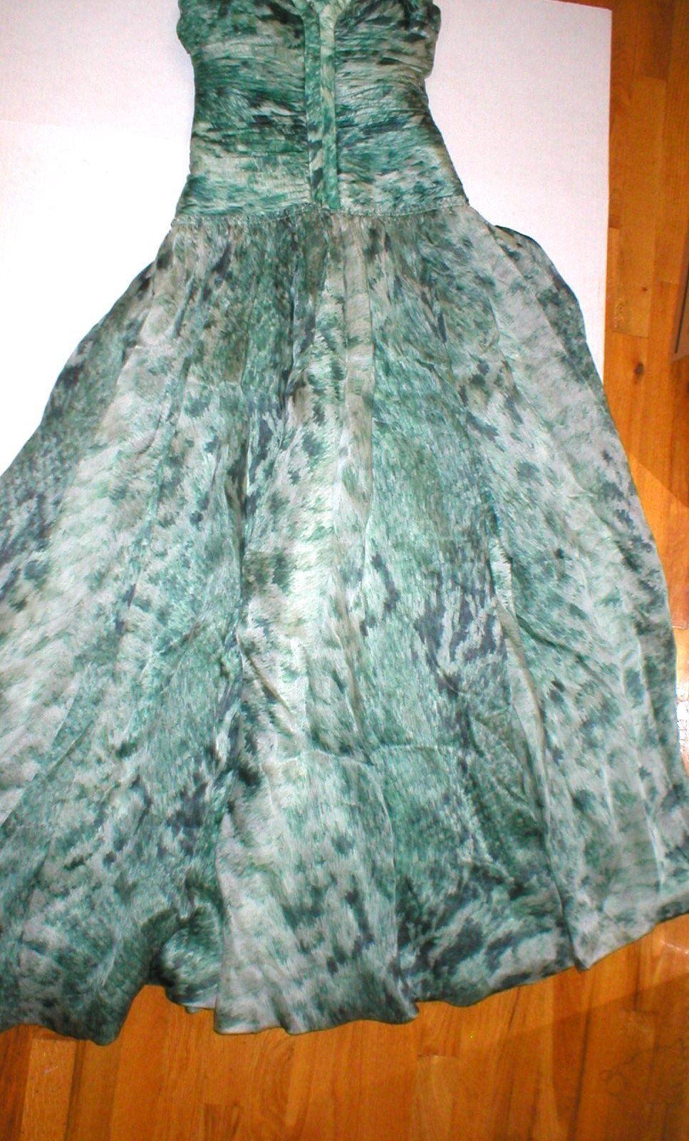 New 38 Carlos Miele Womens 4 Silk Runway Gown Dress Strapless Silk Green Snake