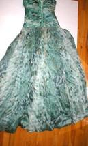 New 38 Carlos Miele Womens 4 Silk Runway Gown Dress Strapless Silk Green Snake image 1
