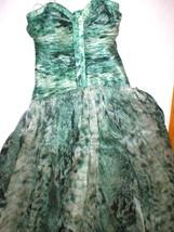 New 38 Carlos Miele Womens 4 Silk Runway Gown Dress Strapless Silk Green Snake image 2