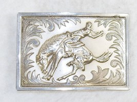 Vintage Belt Buckle, Silver-Tone Metal, 3D Buck... - $9.75