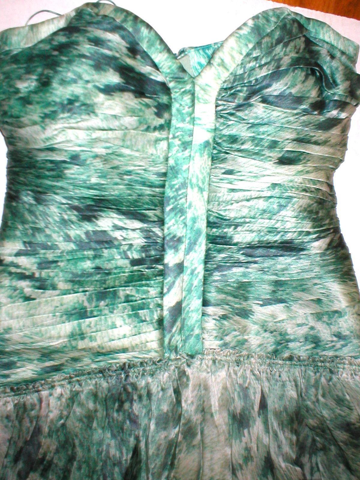 New 38 Carlos Miele Womens 4 Silk Runway Gown Dress Strapless Silk Green Snake image 4