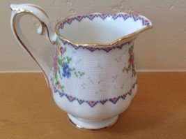 Royal Albert Petit Point 4 Oz Mini Creamer Needlepoint Design Floral Eng... - $23.36