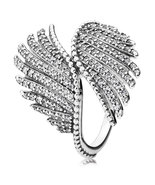 925 Sterling Silver Majestic Feathers with Clear CZ Ring For Women QJCB760 - $28.68