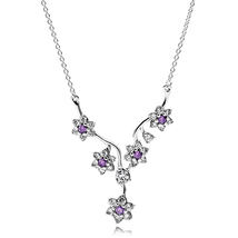 925 Sterling Silver Forget Me Not Necklace with Purple and Clear Cz QJCB-NC018 - $39.99