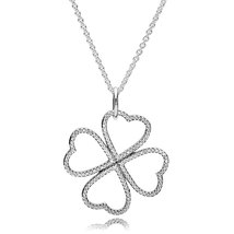 925 Sterling Silver Petals of Love Necklace with Clear Cz QJCB-NC016 - $39.99
