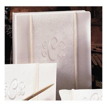 Ivory Brocade Monogram(240 signatures, 3 ring binder) Memory Book - $88.21