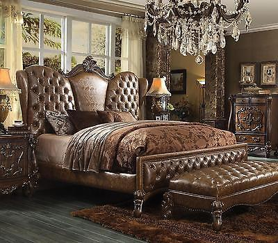 Acme  Versailles 21100 Q Brown Sleigh Bed Queen Classic