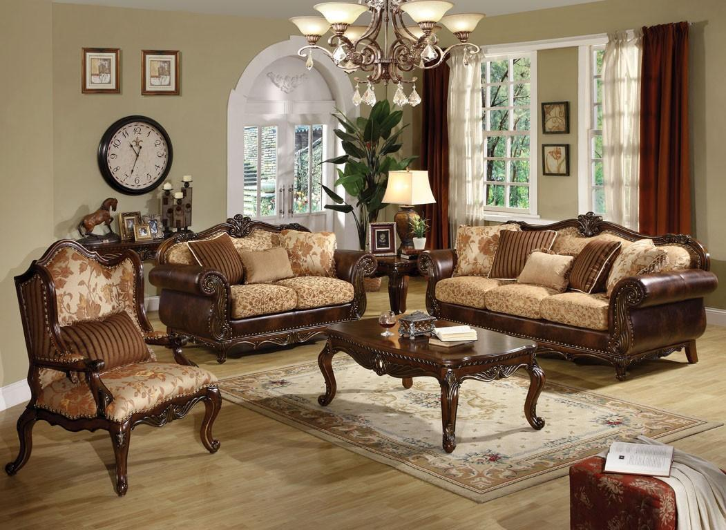Acme Remington 50155Set-3 Cherry Leather Sofa Loveseat and Chair Set Living Room
