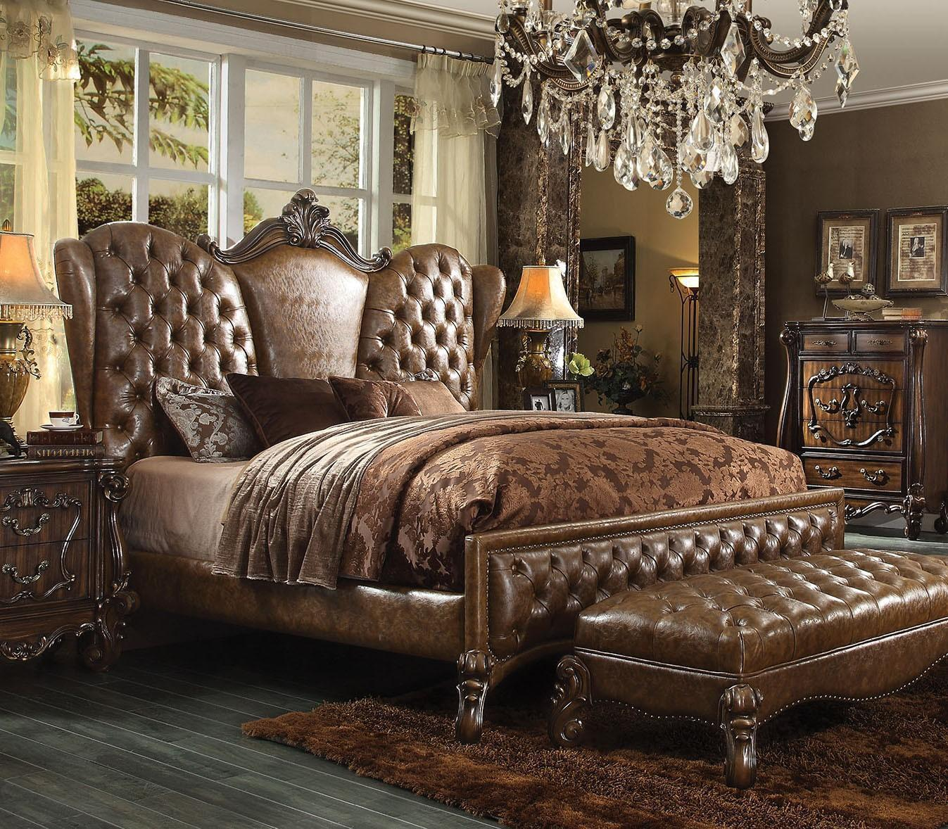 Acme  Versailles 21097EK  Brown Sleigh Bed King Classic