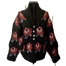 VTG Eddie Bauer Wool Sweater Top Floral Heather Grey Textured Knit Pullo... - $37.88