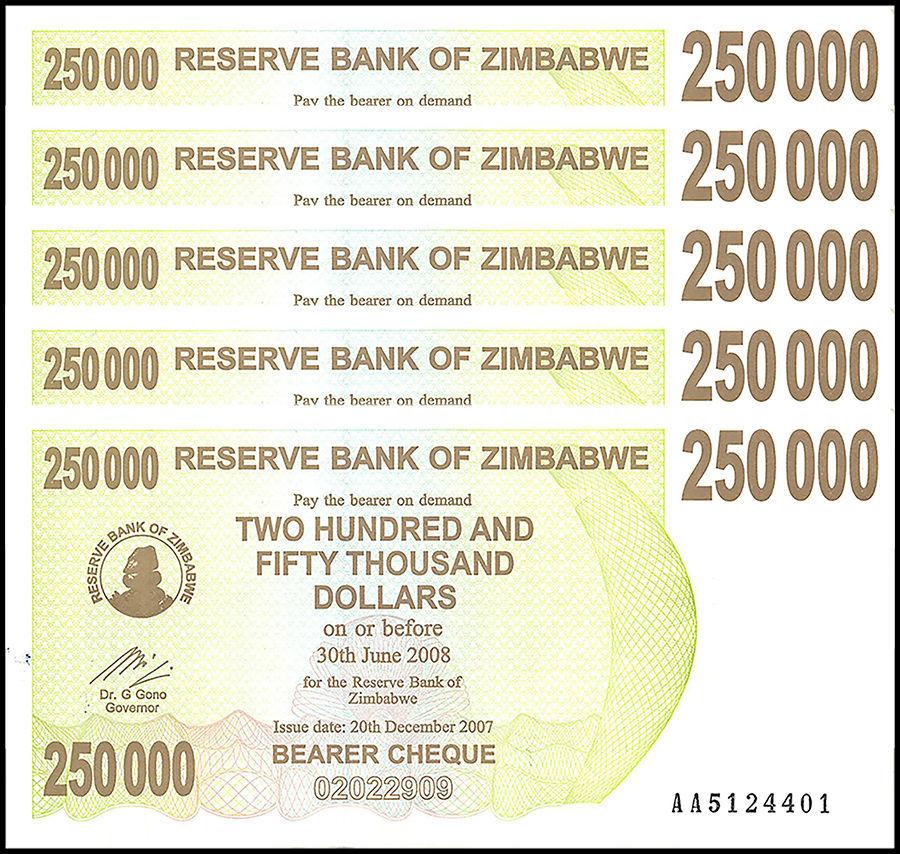 Zimbabwe 250 000 250000 Dollars Bearer Cheque X 5 Pieces