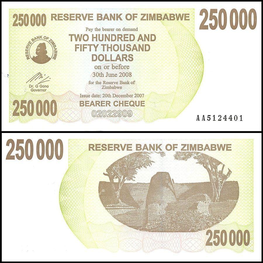 Zimbabwe 250 000 250000 Dollars Bearer Cheque 2007 P