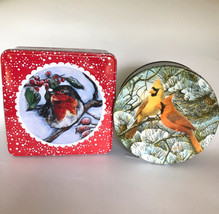 Birds in Snow 2pc Holiday Tins Vintage Cardinals, Current Red Bird w Ber... - $37.62