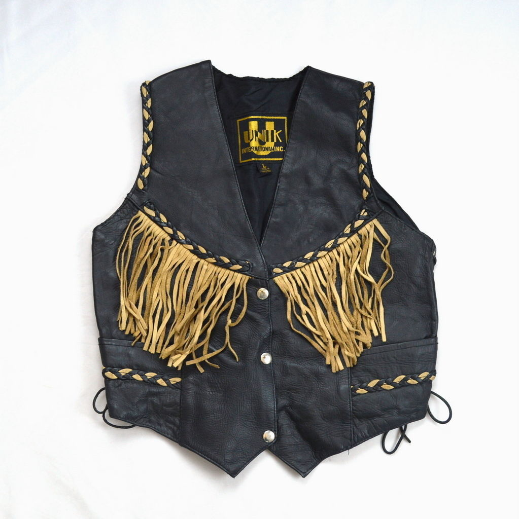 UNIK Vintage Black Leather Fringe Tassel Lace Up Easy Rider Biker Western Vest M