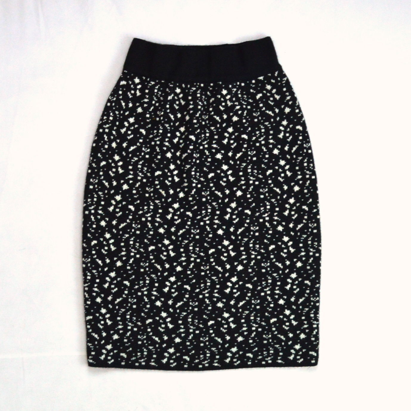 Primary image for Vtg FABRICE KAREL Made in FRANCE Black White Speckled Wool Knit Pencil Skirt XS