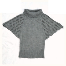 Gray Silver Eyelet Butterfly Knit SWEATER PROJECT Cowl Tunic Shirt Layer... - $14.84