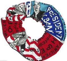 President Obama Fabric Hair Scrunchie Scrunchies by Sherry Ponytail Holder Tie - $6.99