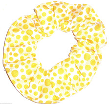 White with Yellow Polka Dots Blocks Fabric Hair Scrunchie Scrunchies by Sherry  - $6.99