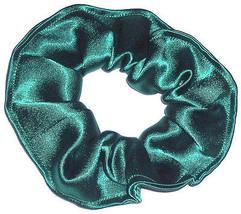 Green Satin Hair Scrunchie Scrunchies by Sherry Ponytail Holder Tie - $6.99
