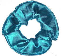 Turquoise Teal Satin Hair Scrunchie Scrunchies by Sherry Ponytail Holder Tie - $7.99