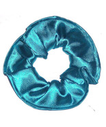 Turquoise Teal Satin Hair Scrunchie Scrunchies by Sherry Ponytail Holder... - $7.99