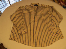 Mens Nautica cotton striped XL long sleeve button up shirt casual lt tan... - $44.54