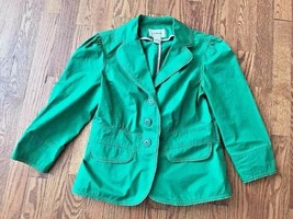 LL Bean Womens Kelly Green Blazer Jacket - Size 0 - JFX8 - 100% Cotton - $23.36
