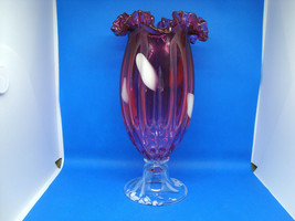 Fenton cranberry glass melon rib vase. - $44.55