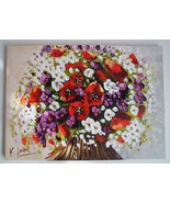 Red Poppies Original Oil Painting Palette Knife Modern Bouquet Flowers P... - $395.00