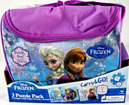 Disney Frozen Anna and Elsa Carry & Go 3 puzzle pack w/ purple bag - $9.95