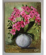Pink Orchids Palette knife Original Oil Painting Flowers Bouquet Europea... - $340.00