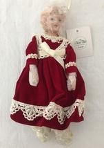 Porcelain Doll Christmas Ornament Burgundy Dres... - $14.80