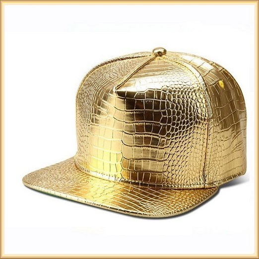 Unisex Hip Gold or Silver Embossed PU Leather Gator Skin Adjustable Ball Cap