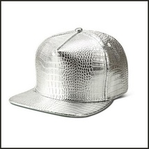 Unisex Hip Gold or Silver Embossed PU Leather Gator Skin Adjustable Ball Cap  image 2