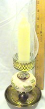 Vintage Porcelain With Painted Flowers and Brass Candle Hurricane Lamp -... - $25.95