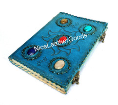Leather Journal Leather Diary Leather Notebook 5 Healing Stones C Clasp ... - $34.99
