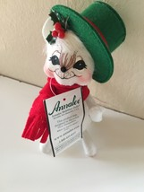 Annalee Mobilitee Christmas White Mouse Green Hat 2005 - $19.95