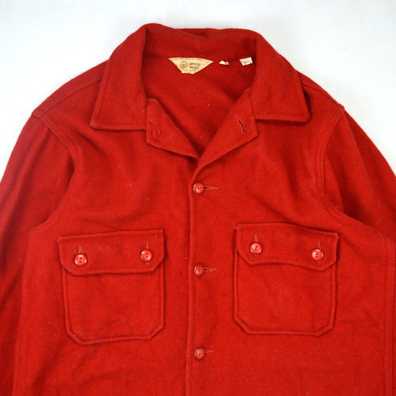 Vintage thick red wool felt boy scouts official jacket for Mens wool flannel shirt
