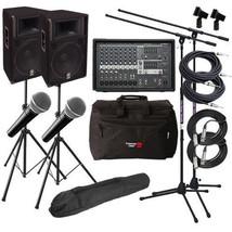 "Yamaha Powered Mixer 15"" Passive Speakers Karaoke Dj Complete Audio Bundle Sound - $2,095.54"