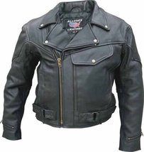 Allstate Leather Men's Drum Dyed Naked Cowhide Vented Motorcycle Jacket ... - $274.35