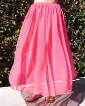 Coral-pink chiffon maxi skirt. Size L large. New - £22.28 GBP