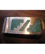 STERLING SILVER MONEY CLIP WITH TURQUOISE - VINTAGE  MEXICO - $20.00