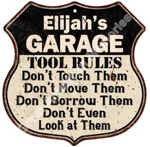 "Elijah's GARAGE TOOL RULES 12"" Shield Sign Man ... - $23.95"